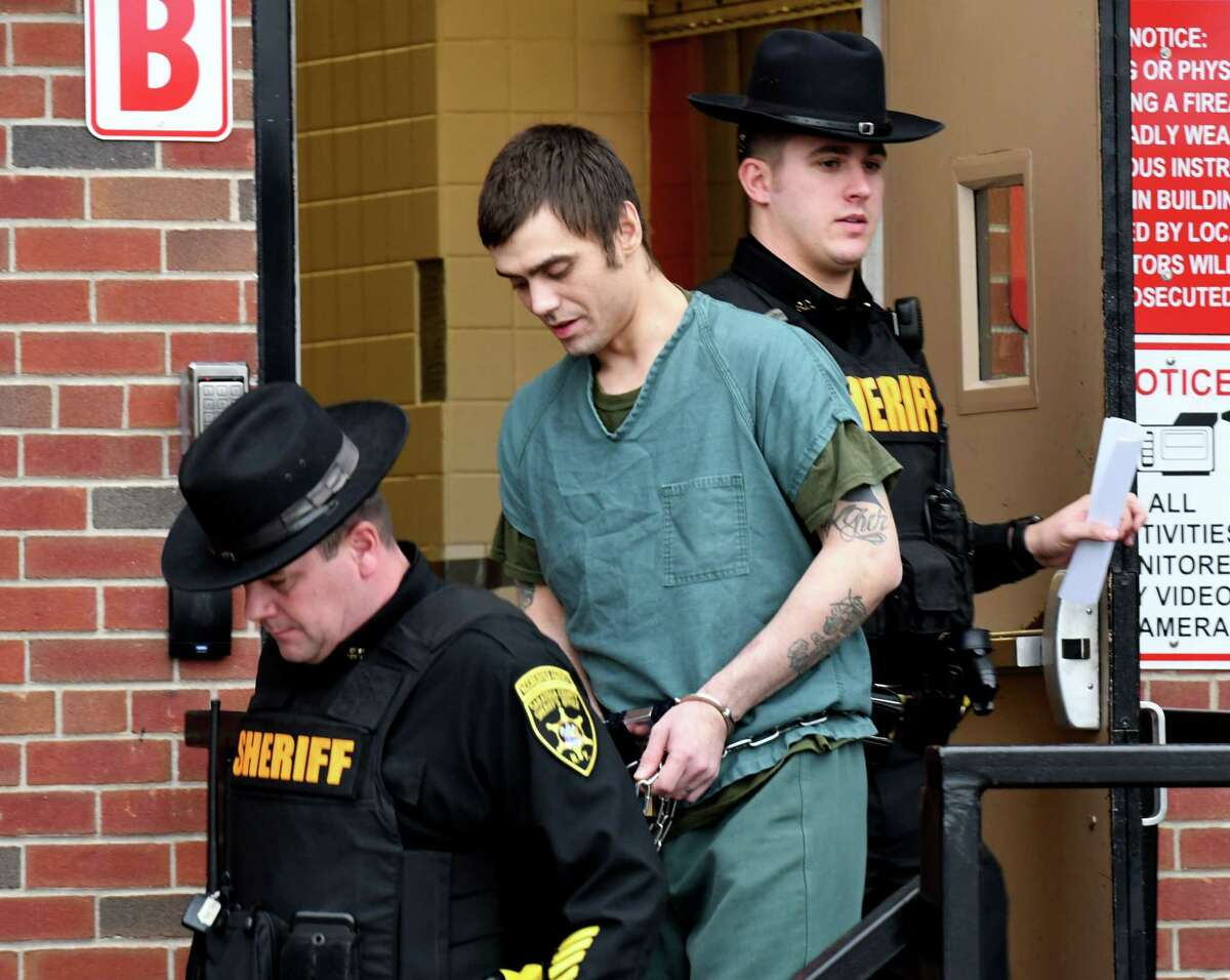Accused murderer James Duffy, 34, of Johnstown is taken away following an appearance at Saratoga County Court on Wednesday, Jan. 15, 2020, in Ballston Spa, N.Y. Duffy and Georgios Kakavelos are both charged in the death of Allyzibeth A. Lamont, a 22-year-old restaurant worker from Gloversville. Her body was dumped in a shallow grave at Northway Exit 13S in Malta. (Will Waldron/Times Union)
