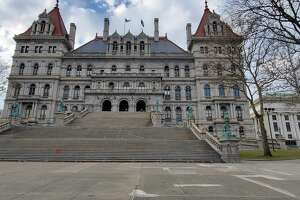 New York's state Capitol on a gloomy day in January. (Chris Churchill / Times Union)