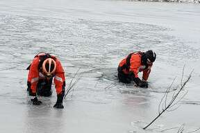 U.S. Coast Guard Manistee Station led an ice training exercise on Man Made Lake Wednesday morning.