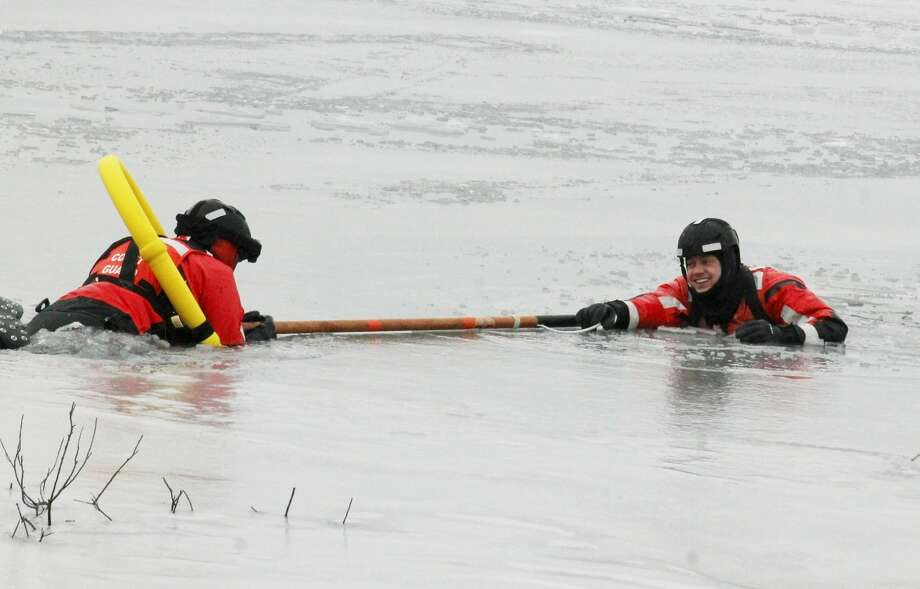 U.S.Coast GuardManisteeStation led an ice trainingexercise on Man Made Lake Wednesday morning. Photo: Arielle Breen News Advocate