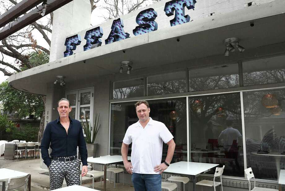 Andrew Goodman, left, and chef Stefan Bowers are shown at Feast, their old restaurant that they closed. Photo: Bob Owen, Staff Photographer / San Antonio Express-News