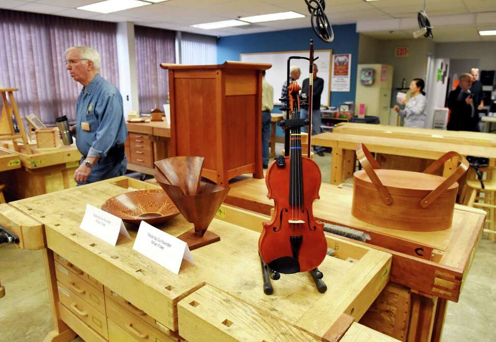 Items made by Northeastern Woodworkers Association members are displayed during an opening ceremony for the association's new education center on Wednesday, Jan. 15, 2020, on Railroad Avenue in Colonie, N.Y. (Will Waldron/Times Union)