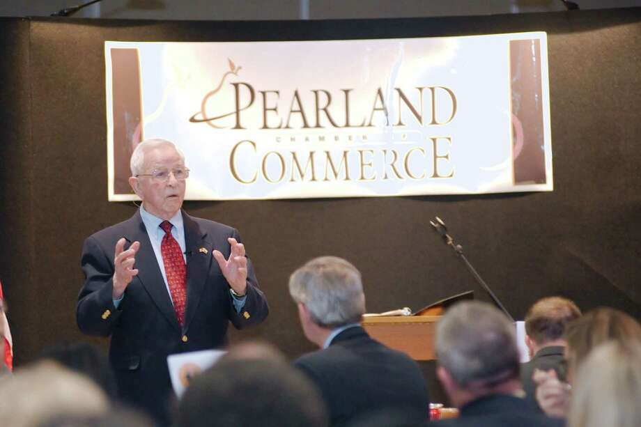 Pearland Mayor Tom Reid has been ubiquitous in the city for decades, speaking and appearing at events ranging from chamber luncheons to ribbon cuttings. City Council agreed to bestow on him the title of mayor emeritus once he leaves office in May. / © 2014 Kirk Sides / Houston Community Newspapers