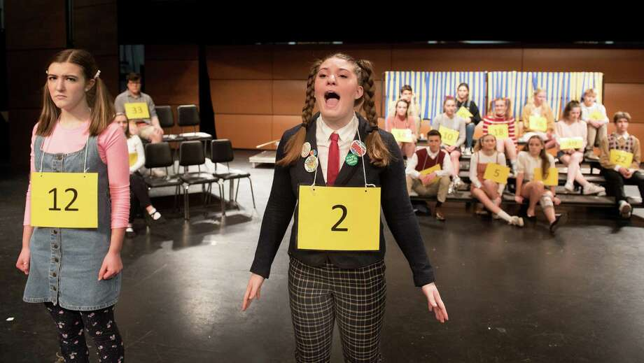 Katie Buse & Eleanor Winrow in Wilton High School's senior show, The 25th Annual Putnam County Spelling Bee. Photo: Bryan Haeffele / Hearst Connecticut Media / Hearst Connecticut Media