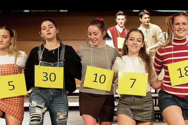 "Teresa Nobles, far right, is among the winners of a Wilton Education Association scholarship awarded to children of Wilton school district teachers. Teresa is shown in the Wilton High School's January production of ""The 25th Annual Putnam County Spelling Bee."""