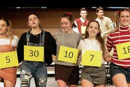 """Teresa Nobles, far right, is among the winners of a Wilton Education Association scholarship awarded to children of Wilton school district teachers. Teresa is shown in the Wilton High School's January production of """"The 25th Annual Putnam County Spelling Bee."""""""