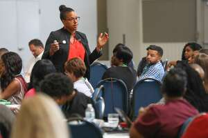 Susan Perkins, associate professor of strategic management at the University of Illinois at Chicago, speaks during an Inner City Capital Connections program held in St. Louis, Mo.