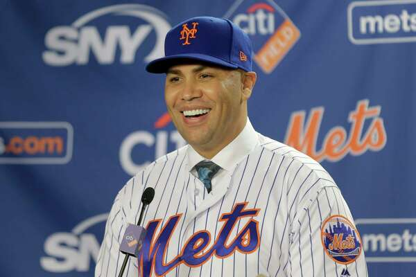 New York Mets new manager Carlos Beltran smiles during an introductory baseball news conference in New York, Monday, Nov. 4 2019.(AP Photo/Seth Wenig)