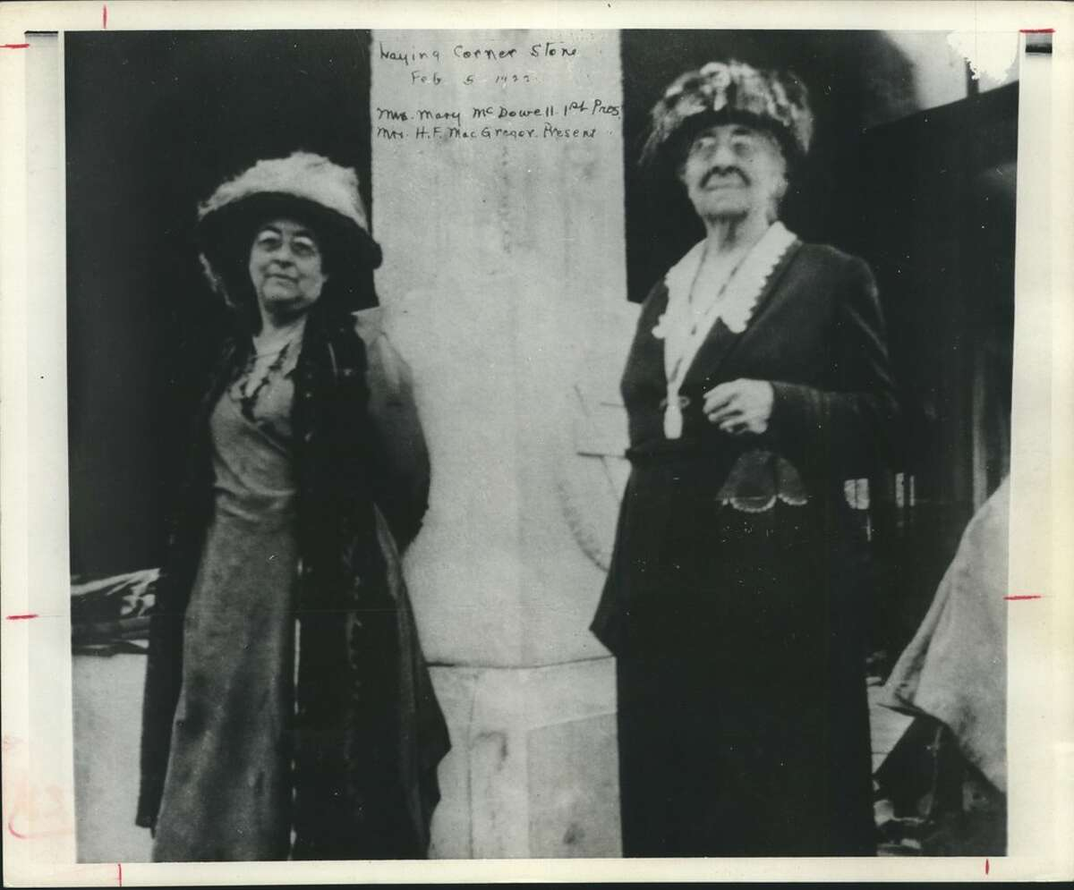 You were in the groove in the early 1920s when you wore the gym suits, above, for noontime exercise classes in the downtown YWCA. Below, at the February 5, 1922, Laying of the cornerstone for the building at 1310 Rusk, were, from left, Mrs. H. F. MacGregor, then the Y president, and Mrs. Mary McDowall, president when the Y received its charter in 1907. YWCA, Houston, Texas.