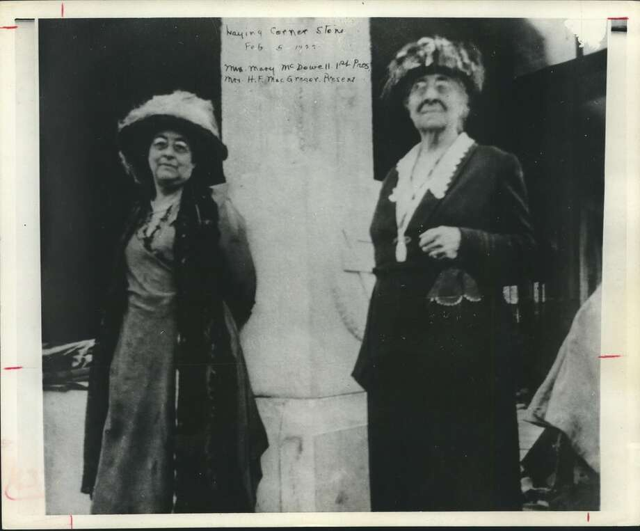 You were in the groove in the early 1920s when you wore the gym suits, above, for noontime exercise classes in the downtown YWCA. Below, at the February 5, 1922, Laying of the cornerstone for the building at 1310 Rusk, were, from left, Mrs. H. F. MacGregor, then the Y president, and Mrs. Mary McDowall, president when the Y received its charter in 1907. YWCA, Houston, Texas. Photo: Houston Chronicle