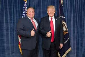 Robert F. Hyde, left, and President Donald Trump. A new batch of documents released by House investigators in Washington on Friday night indicates that Hyde might have had contact with people spying on the then-U.S. ambassador there in th spring of last year.