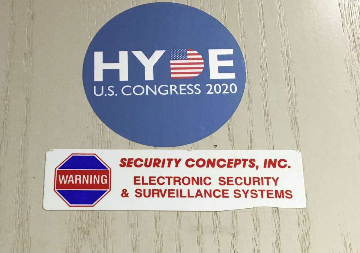 The door to basement office in Avon rented by Robert Hyde, and which was visited by FBI agents on Thursday.