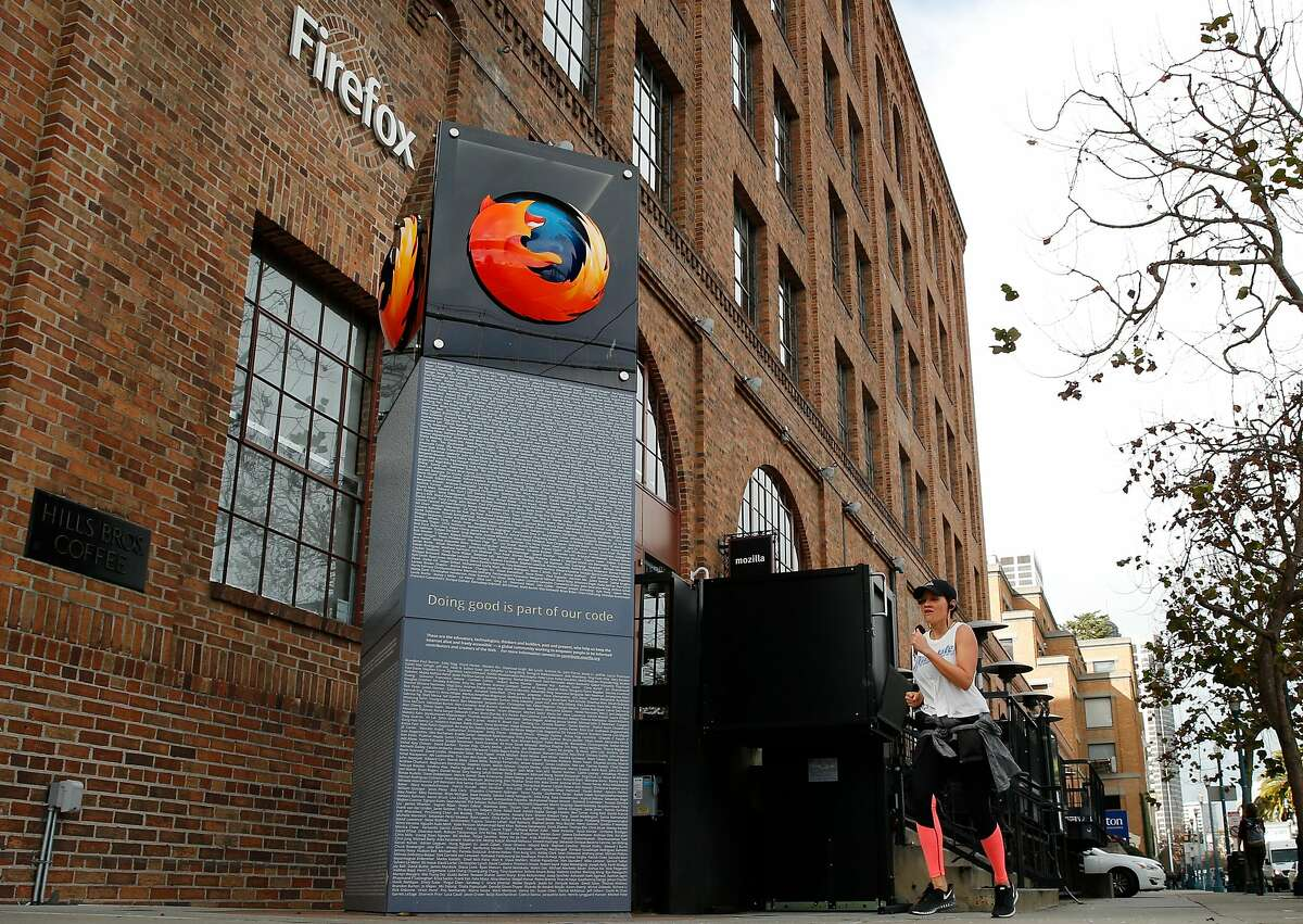 A person jogs past the Mozilla building, Friday, Jan. 19, 2018, in San Francisco, Calif.