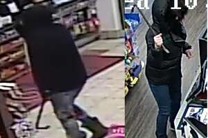 Authorities are searching for two suspects who wielded crowbars in robberies that appear to be related Wednesday morning, Colonie Police said.