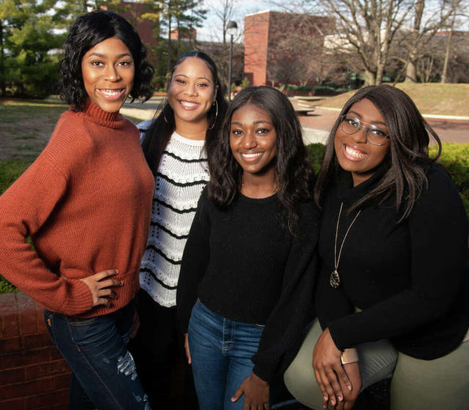Members of the National Black Association for Speech-Language Hearing (NBASLH) at SIUE will attend the group's national convention in April 2020 in Houston. Shown from left to right are Jeanette Peebles, secretary; Kierston Jamison, vice president; Sydnee Lollis, secretary; and Nydraisha Geeters, president. Photo: For The Intelligencer