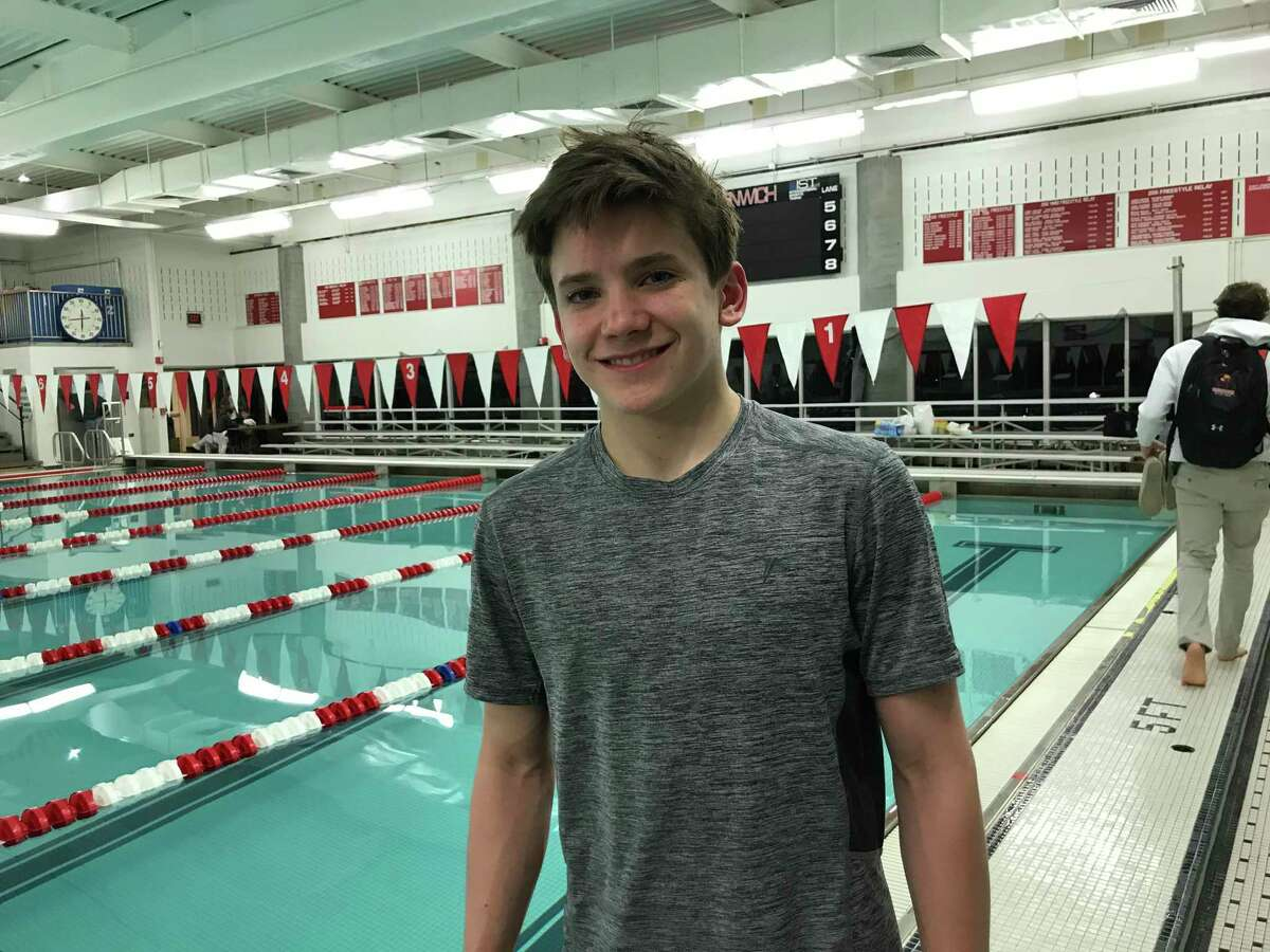 Greenwich freshman Whitaker Grover placed first in the diving event for the Cardinals in their meet vs. Westhill/Stamford on Wednesday, January 15, 2020, in Greenwich.