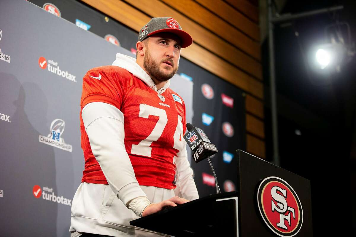San Francisco 49ers offensive tackle Joe Staley (74) in a news conference at Levi's Stadium, Wednesday, Jan. 15, 2020, in Santa Clara, Calif. The 49ers will play the Green Bay Packers in the NFC Championship Game on Sunday.