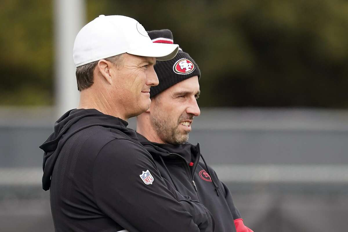 Head coach Kyle Shanahan, right, and 49ers' general manager John Lynch will have some tough decisions to make this offseason as they deal with 31 unrestricted or restricted free agents and about $13 million in salary cap space.