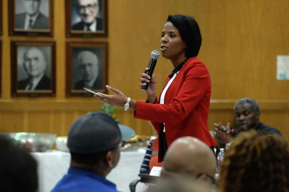 Beaumont ISD Superintendent Shannon Allen addresses a crowd of roughly 200 people during a Nov. 18 community forum on discipline practices held by district administrators. The forum came weeks after the Houston Chronicle and Beaumont Enterprise questioned the district about its 2018-19 suspension rate, which ranked first in Texas by a wide margin among districts with at least 1,000 students. Allen pledged the district would better implement initiatives aimed at curbing exclusionary discipline. (Kim Brent/The Enterprise) / BEN