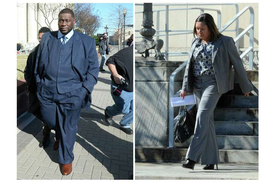 Former Beaumont ISD chief financial officer Devin McCraney, left, and comptroller Sharika Allison, pictured in these 2014 file photos, spent a combined eight years in prison after pleading guilty to charges related to a $4-million embezzlement scheme involving district funds. (Staff file photos)