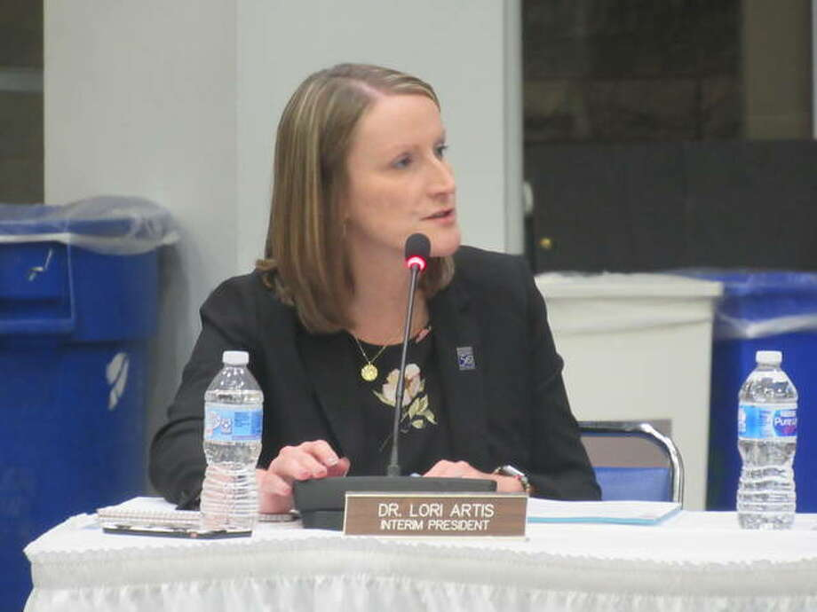Lewis and Clark Community College Interim President Lori Artis has the floor during the LCCC Board of Trustees monthly meeting Tuesday. Photo: Dylan Suttles   The Telegraph