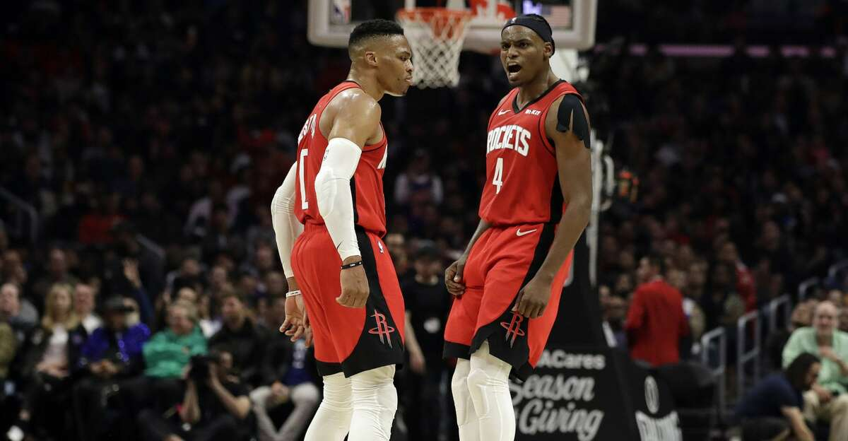 PHOTOS: Rockets game-by-game Houston Rockets' Russell Westbrook, left, celebrates with Danuel House Jr. (4) after Westbrook scored during the second half of the team's NBA basketball game against the Los Angeles Clippers on Thursday, Dec. 19, 2019, in Los Angeles. (AP Photo/Marcio Jose Sanchez) Browse through the photos to see how the Rockets have fared in each game this season.