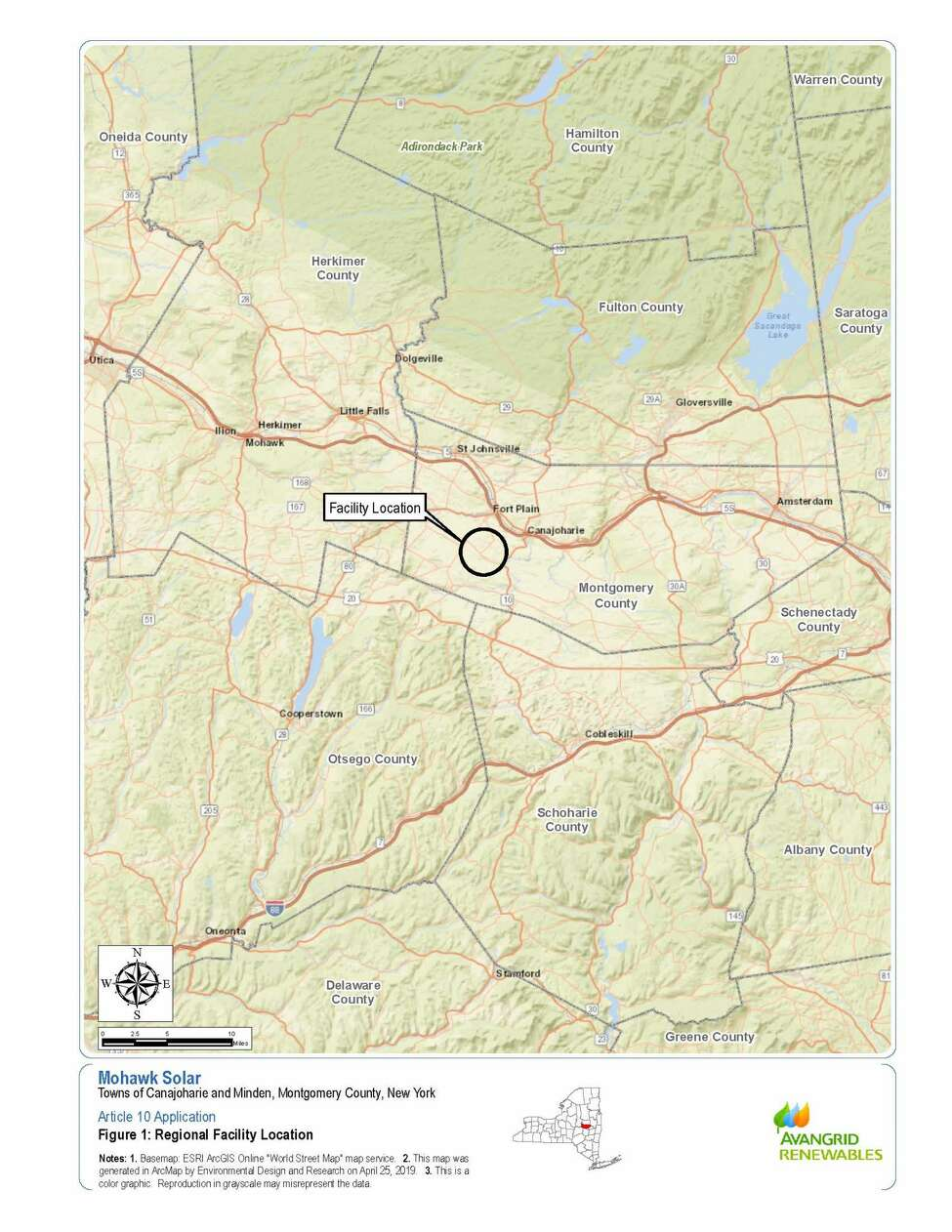 Location of proposed solar farm in the Canajoharie area, among the documents provided to the state Department of Public Service by Avangrid Renewables.