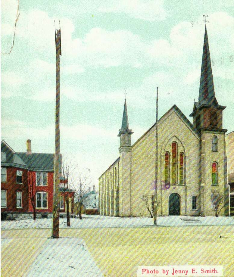 This is what the United Methodist Church on First Street in Manistee looked like in the 1940s.
