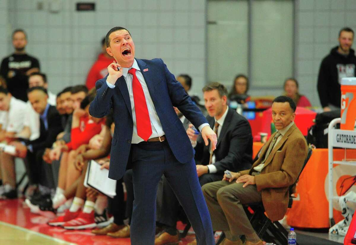 Mens college basketball between Sacred Heart and Central Connecticut in Fairfield, Conn., on Wednesday Jan. 15, 2020. SHU Head Coach: Anthony Latina.