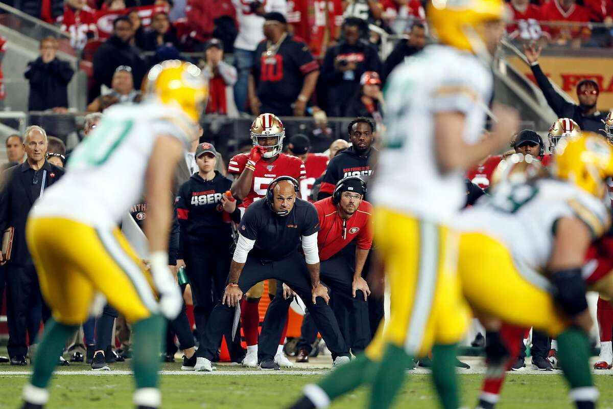San Francisco 49ers' defensive coordinator Robert sales watches Green Bay Packers' Aaron Rodgers during NFL game at Levi's Stadium in Santa Clara, Calif., on Sunday, November 24, 2019.