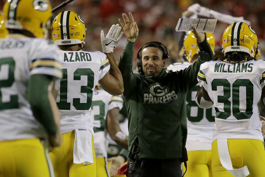 Green Bay Packers head coach Matt LaFleur celebrates with his players after a touchdown during the first half of an NFL football game against the Kansas City Chiefs Sunday, Oct. 27, 2019, in Kansas City, Mo. (AP Photo/Charlie Riedel) Photo: Charlie Riedel / AP
