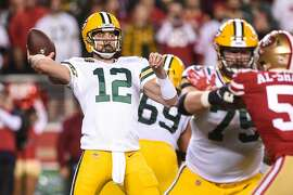 SANTA CLARA, CA - NOVEMBER 24: Green Bay Packers Quarterback Aaron Rodgers (12) passes deep during the NFL game between the Green Bay Packers and San Francisco 49ers at Levi's Stadium on November 24, 2019 in Santa Clara, CA. (Photo by Cody Glenn/Icon Sportswire via Getty Images)
