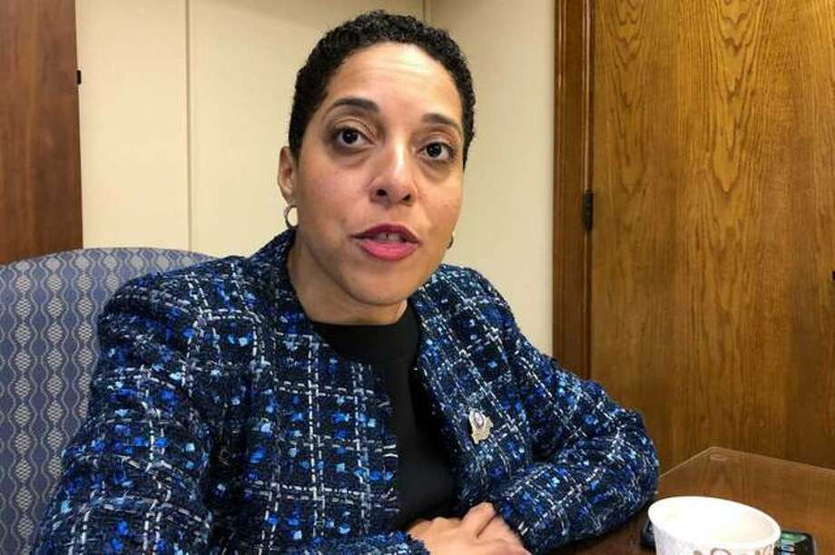 St. Louis Circuit Attorney Kim Gardner speaks Monday, Jan. 13, 2020, in St. Louis. Gardner on Monday filed what she called an unprecedented federal civil rights lawsuit, accusing the city, the local police union and others of a coordinated and racist conspiracy aimed at forcing her out of office. Photo: Jim Salter, AP / Copyright 2019 The Associated Press. All rights reserved. Photo: Jim Salter, AP