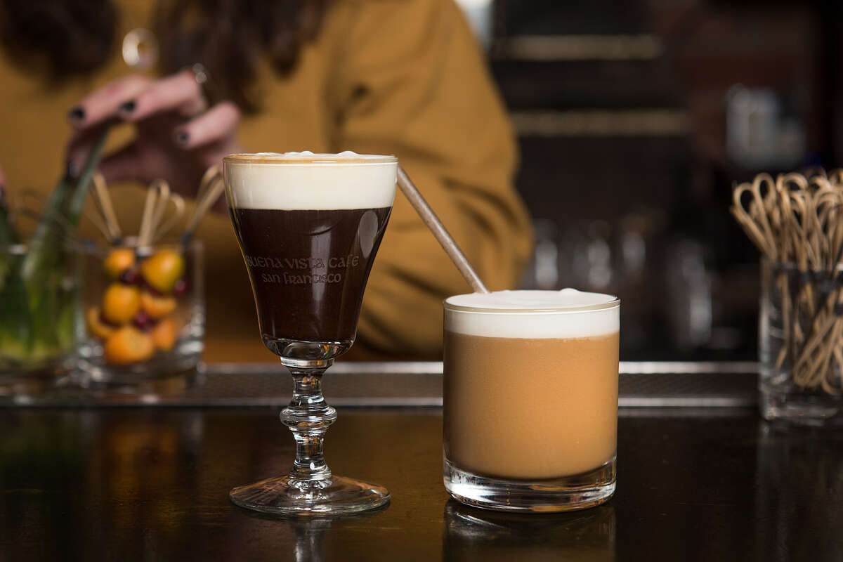 Hot and cold.Left: Paying Our Dew's is a traditional Irish Coffee made with Tullamore Dew, Andytown coffee, sugar, and fresh cream.Right: Ode to Orleans is a frozen cocktail made with Powers Whiskey, Kerry gold Irish cream, maple syrup, cream & Andytown Cold brew.