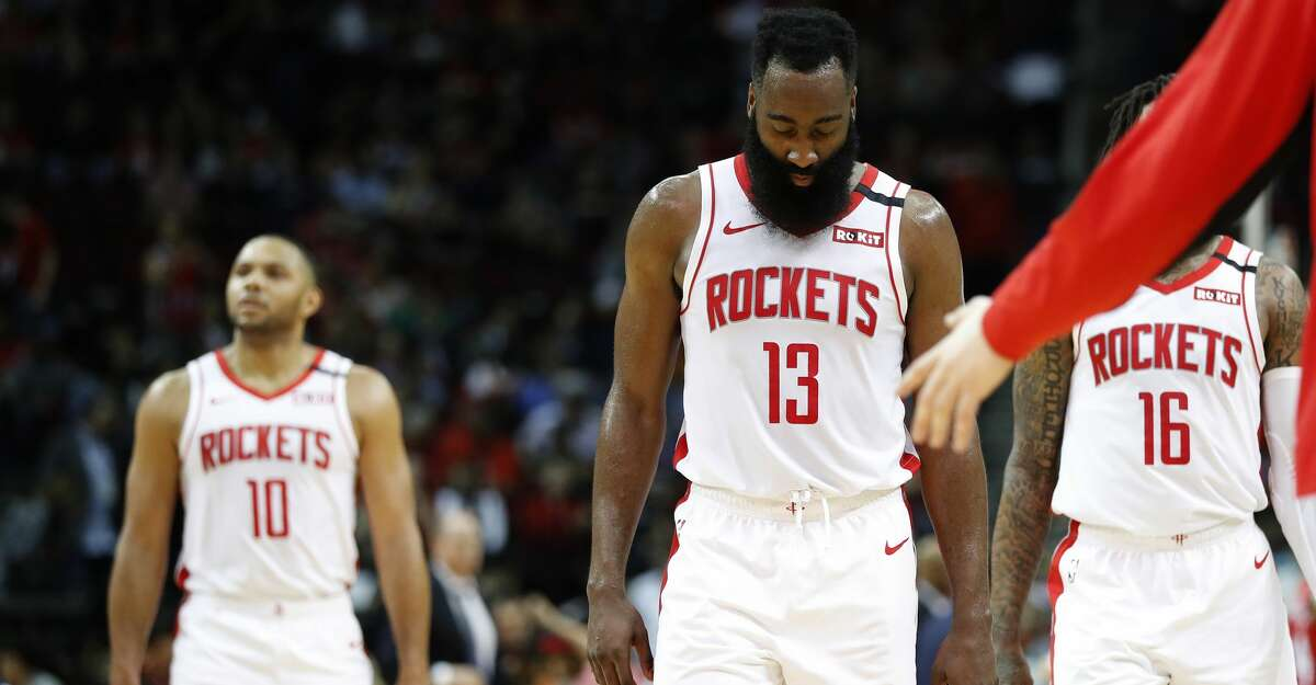 Houston Rockets guard James Harden (13) looks down as he walked off the court at the end of the first half of an NBA basketball game at Toyota Center, in Houston, Wednesday, Jan. 15, 2020.