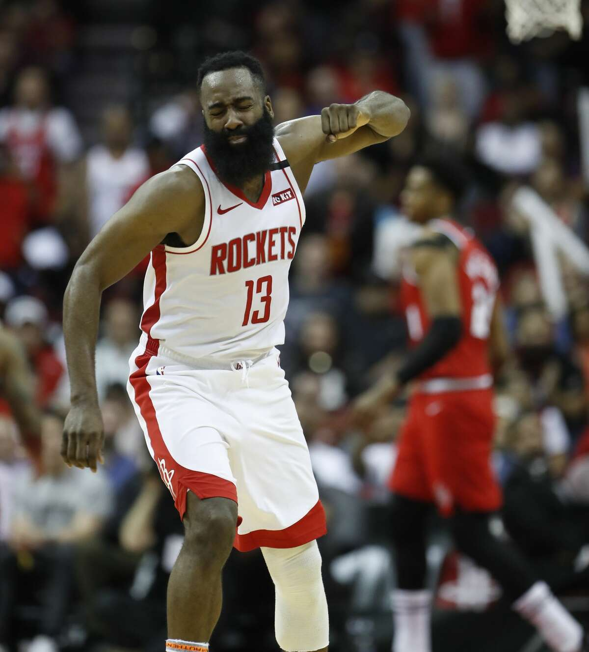 Houston Rockets guard James Harden (13) reacts after missing a three-pointer in the second half of an NBA basketball game at Toyota Center, in Houston, Wednesday, Jan. 15, 2020.