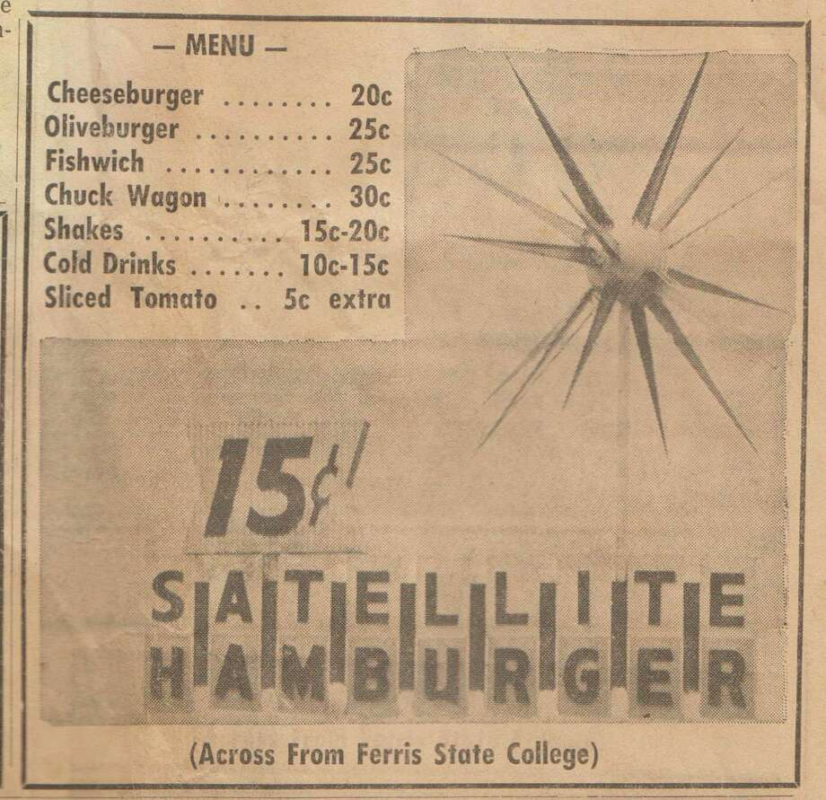 """After reading the """"Our Past� feature in Friday's edition of the Pioneer, a reader brought to the office a copy of a 1963 edition of the Pioneer with an advertisement for the Satellite restaurant in it. Among our favorite deals is an olive burger for 25 cents, or about $2.10 in 2020. (Courtesy photo)"""