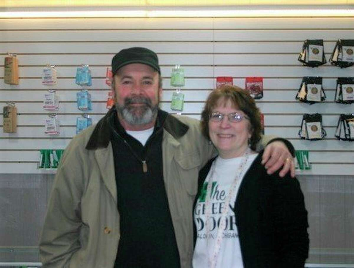 Local business owners, Steve and Audrey Dominique, opened the Green DoorBaldwin, a medical marijuana dispensary, at 9116 M-37 in Baldwin in front of the Pure Michigan Solutions smoke shop. Store hours are Monday through Saturday, 11 a.m. to 7 p.m. (Star photo/Cathie Crew)