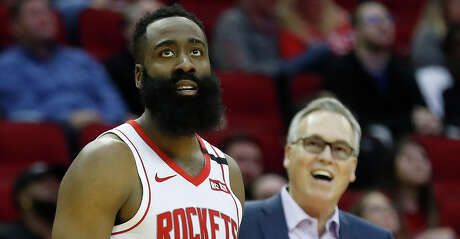 Houston Rockets guard James Harden (13) reacts after a fifth foul was called on him in the second half of an NBA basketball game at Toyota Center, in Houston, Wednesday, Jan. 15, 2020.