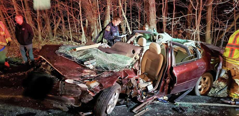 Two people were seriously hurt in a head-on crash on Route 82 in East Haddam on Wednesday, Jan. 15, 2020. Photo: East Haddam Fire Department Photo