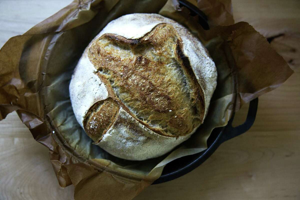 A loaf of sourdough bread, cooked in a Dutch ove, and made with wheat flour and an active starter. (Provided)