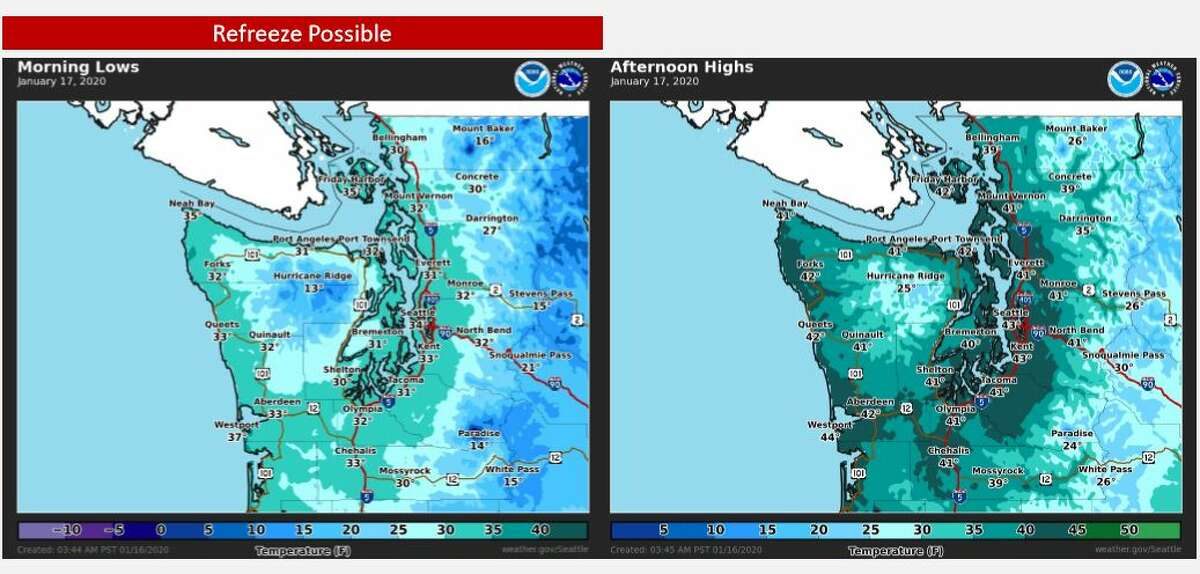 A refreeze was possible Friday morning as temperatures could drop to the low 30s.