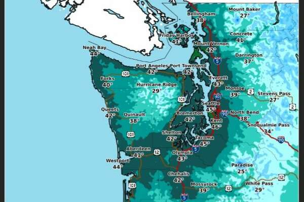 High temperatures Thursday were expected to reach the mid-40s in and around Seattle.