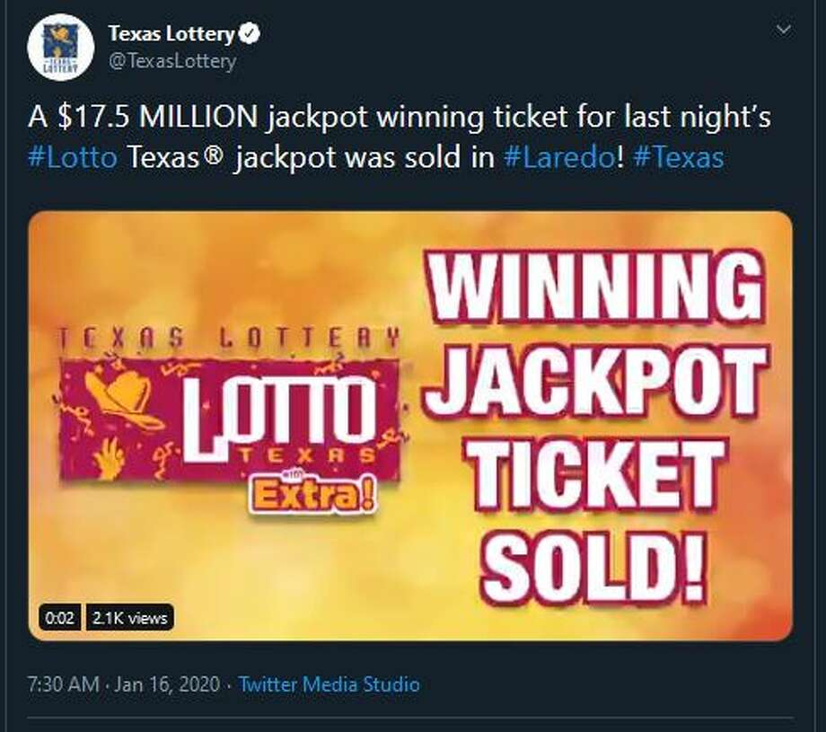 This tweet from the Texas Lottery account revealed that a winning $17.5M jackpot ticket was sold in Laredo. Photo: Twitter.com