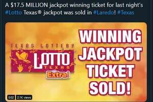 This tweet from the Texas Lottery account revealed that a winning $17.5M jackpot ticket was sold in Laredo.