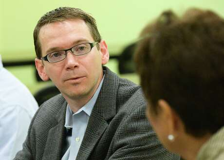 Texas Commissioner of Education Mike Morath meets with administrators of the South Texas Independent School District, at the Medical Academy near Olmito on May 25, 2016. On Jan. 8, 2020, a district judge ruled that Houston Independent School District trustees met their burden of proof for showing that Morath does not have the legal authority to remove an elected school board and replace it with an appointed one.