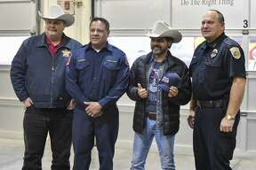 Country artist Rick Trevino visits first responders at the Central Fire Station truck bay on Wednesday, Jan. 15, 2019 in Odessa, Texas. Jacy Lewis/Reporter-Telegram