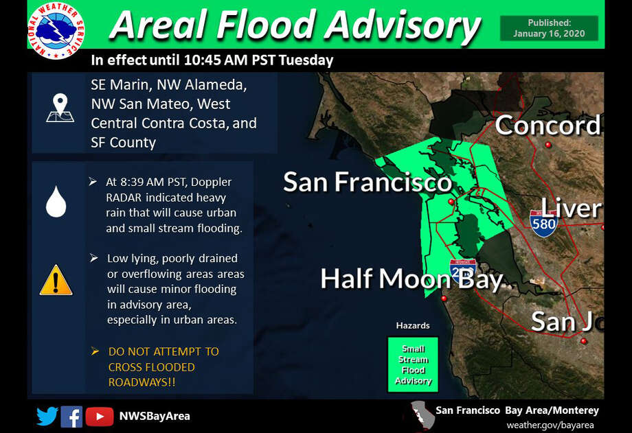 The National Weather Service has issued a weather advisory for flooding for part of the Bay Area this morning Photo: NWS Bay Area