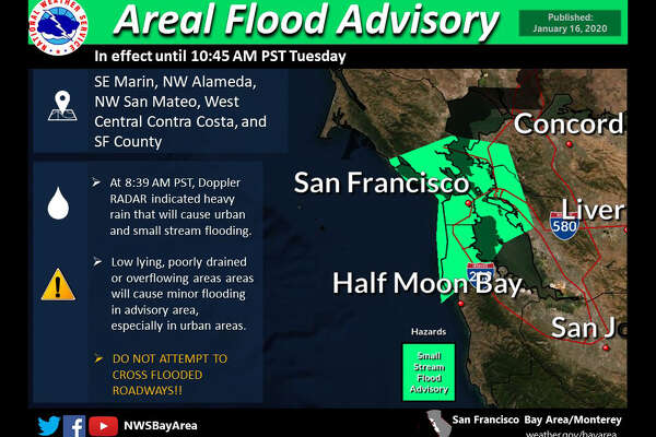 The National Weather Service has issued a weather advisory for flooding for part of the Bay Area this morning
