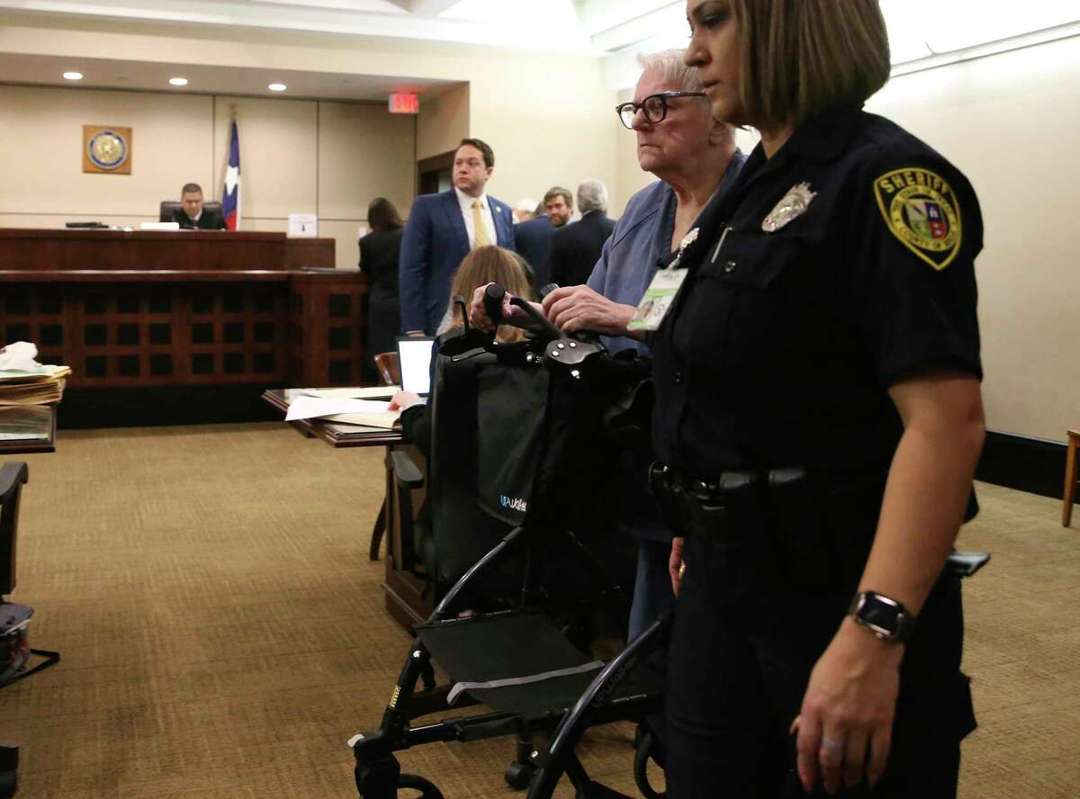 Convicted child killer Genene Jones, 69, arrives in the Bexar County 399th District court where she is expected to plea guilty to killing 5 babies in 1981-82.